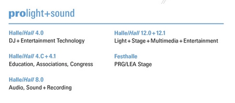 hallenplan prolight + sound 2019 Details